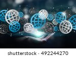 businessman holding digital web ...   Shutterstock . vector #492244270