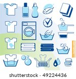 Laundry vector icons set - stock vector