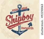 anchor. vintage label with an... | Shutterstock .eps vector #492250063
