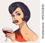 vintage elegant woman with wine | Shutterstock . vector #492252820