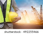 engineer or safety officer... | Shutterstock . vector #492255466
