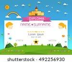 certificate kids diploma ... | Shutterstock .eps vector #492256930