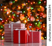 christmas presents and balls... | Shutterstock . vector #492258694