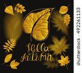 "lettering ""hello autumn"". the... | Shutterstock . vector #492261133"