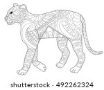 panther coloring book for... | Shutterstock .eps vector #492262324