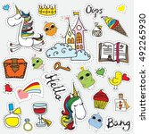 patch badges with magic unicorn ... | Shutterstock .eps vector #492265930