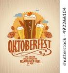 oktoberfest poster with beer... | Shutterstock . vector #492266104