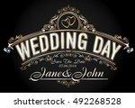 vintage style wedding... | Shutterstock .eps vector #492268528
