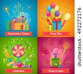 colorful pyrotechnics festival...   Shutterstock .eps vector #492272176