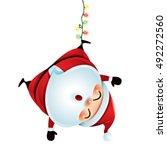santa claus hanging upside down | Shutterstock .eps vector #492272560