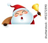santa claus and sign  | Shutterstock .eps vector #492272590
