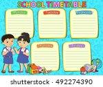 school timetable schedule with... | Shutterstock .eps vector #492274390