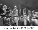 Skyline Of Singapore City At...
