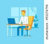 vector illustration in trendy... | Shutterstock .eps vector #492276796
