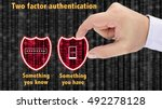 Small photo of Hand putting together two security shields revealing red datastreams showing the phrase something you know and have mobile and password two factor authentication concept