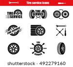 tire service icons and... | Shutterstock .eps vector #492279160