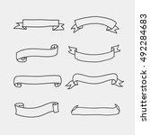 set vintage hand draw banner | Shutterstock .eps vector #492284683