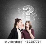 two students gossiping near... | Shutterstock . vector #492287794