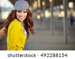 beautiful young woman with... | Shutterstock . vector #492288154
