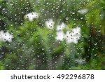 water droplets on a windshield...   Shutterstock . vector #492296878