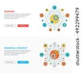 set of flat line business... | Shutterstock .eps vector #492299479
