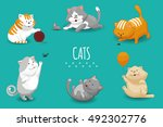 Stock vector vector cute kittens vector illustration set of cat and domestic cats playing 492302776