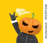 happy halloween vector creative ... | Shutterstock .eps vector #492307168