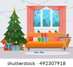 christmas room interior.... | Shutterstock .eps vector #492307918