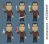 monster holding baton machetes... | Shutterstock .eps vector #492308449