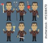 monster holding ax chainsaw... | Shutterstock .eps vector #492308470