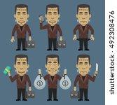 monster holding money suitcase... | Shutterstock .eps vector #492308476