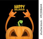 halloween rock n roll pumpkin.... | Shutterstock .eps vector #492308644