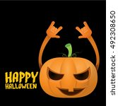 halloween rock n roll pumpkin.... | Shutterstock .eps vector #492308650