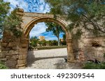 Small photo of View of one of the gates in Alcazaba of Almeria (Almeria Castle) on a beautiful day, horizontal, Spain