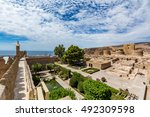Small photo of View of the Alcazaba in Almeria (Almeria Castle) on a beautiful day, horizontal, Spain
