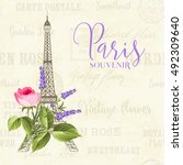 eiffel tower simbol with spring ... | Shutterstock .eps vector #492309640
