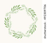 ink hand drawn green wreath... | Shutterstock .eps vector #492309706