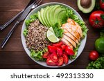 healthy salad plate with quinoa ... | Shutterstock . vector #492313330