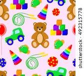 toys seamless background vector ... | Shutterstock .eps vector #492315778