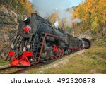 old steam locomotive in the... | Shutterstock . vector #492320878