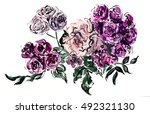 hand painted watercolor flower. ... | Shutterstock . vector #492321130