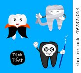 halloween concept of teeth... | Shutterstock .eps vector #492325054
