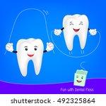 cute cartoon teeth with floss.... | Shutterstock .eps vector #492325864