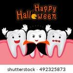 happy halloween of teeth and... | Shutterstock .eps vector #492325873