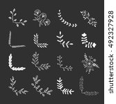 set of floral corners. hand... | Shutterstock .eps vector #492327928