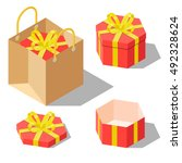 opened and closed present and... | Shutterstock .eps vector #492328624