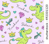 vector cute cartoon dragon ... | Shutterstock .eps vector #492331120