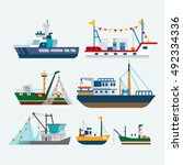 fishing boats and ships | Shutterstock .eps vector #492334336