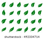 set of green leaf icons on... | Shutterstock . vector #492334714