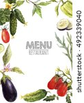 watercolor menu template  set... | Shutterstock . vector #492339040